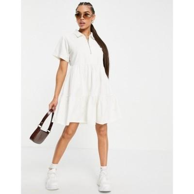 ミスガイデッド レディース ワンピース トップス Missguided zip front tiered shirt dress in white