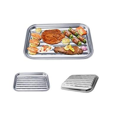 Hooshion ステンレススチール バーベキュー グリルパン BBQ グリルパン 中空 グリル トッパー ローストパン 屋外屋内用