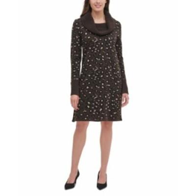 トミー ヒルフィガー レディース ワンピース トップス Cowlneck Leopard-Print Sweater Dress Mink Multi