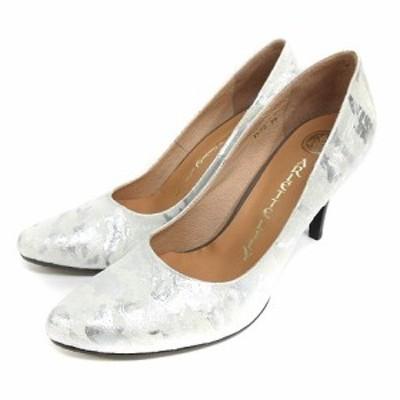 【中古】アルレット リリー ARLETTE LILY 総柄 パンプス 38 ホワイト シルバーカラー 210129E 靴 レディース