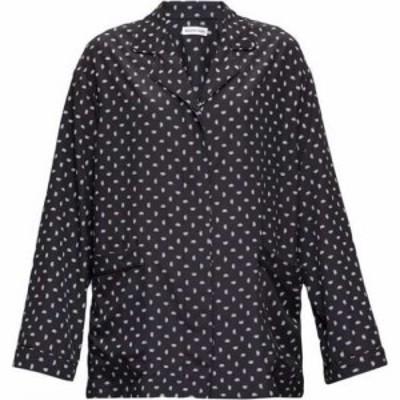 バレンシアガ Balenciaga レディース ブラウス・シャツ トップス Oversized BB logo-print crepe blouse Black