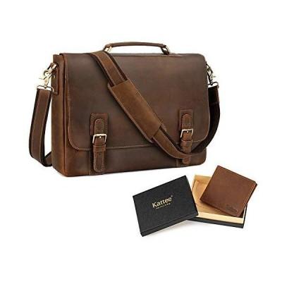 """Kattee Men's Leather Satchel Briefcase15.6"""" Laptop Messenger Shoulder Bag and RFID Blocking Bi-fold Credit Card Holder Wallets for Men【並"""