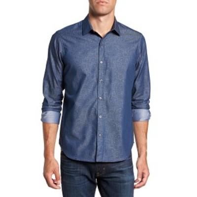 ジェフ メンズ シャツ トップス EDISON LS PRINT SLIM SHIRT BLUE