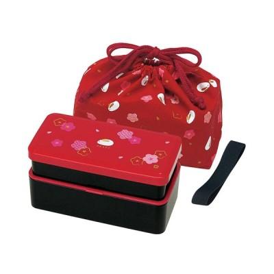 スケーター Skater 松花堂 2段 弁当箱 巾着袋付 640ml ふくうさぎ 朱 KLS5 3997 おにぎり型押し付 お弁当箱 ランチボックス かわいい 和風 お花 かわいい 袋付