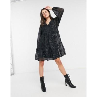 ヴェロモーダ レディース ワンピース トップス Vero Moda mini smock dress with puff sleeves in black polka dot print Black multi