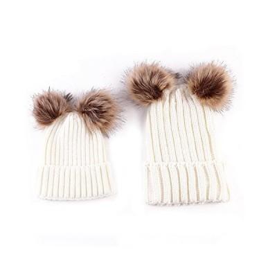 oenbopo 親子帽子 女性と赤ちゃん 暖かい冬 ニット ウール ビーニーハット ファー ポンポン付き ボブルハ