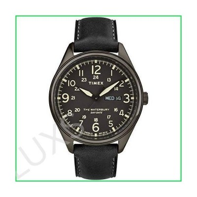 Timex Men's Waterbury Traditional Day-Date 42mm Stainless Steel Analog Quartz Leather Strap, Black, 20 Casual Watch (Model: TW2R89100VQ) 並行輸