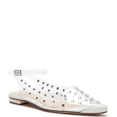 シュッツ レディース パンプス シューズ Biina Clear Vinyl Studded Pointed Toe Ankle Strap Flats