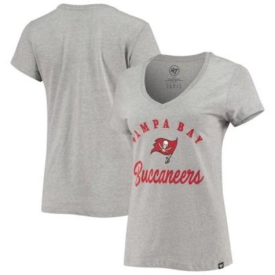 フォーティーセブン レディース Tシャツ トップス Tampa Bay Buccaneers '47 Women's Script V-Neck T-Shirt Heathered Gray