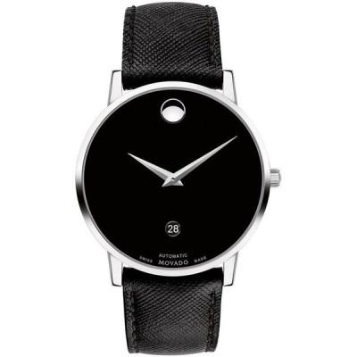 モバド レディース 腕時計 アクセサリー Men's Swiss Automatic Museum Black Calfskin Leather Strap Watch 40mm