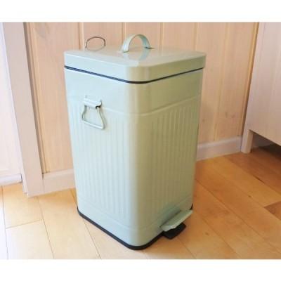 ゴミ箱 ダストボックス Posh ブリキ製 ステップビン  L 角 グリーン 緑 丈夫な ダスト缶 足ふみ式 ペダルビン  レトログリーン