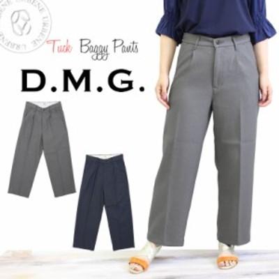 ドミンゴ パンツ DMG タック カラー バギー ワイド パンツ(13-882x)  レディース D.M.G ディーエムジー