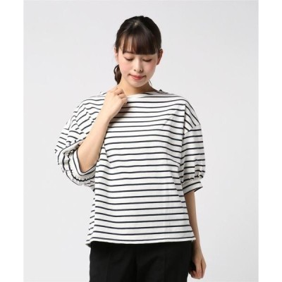 tシャツ Tシャツ 厚手ボーダーボリューム袖ボートネックプルオーバー