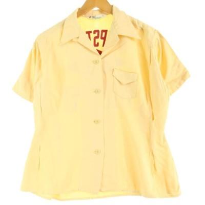 60年代 THE Lueen バックフロッキープリント 半袖 ボウリングシャツ レディースM ヴィンテージ 【中古】 【200530】 /eaa043060