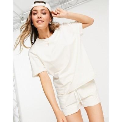 チェルシーピア レディース Tシャツ トップス Chelsea Peers lounge oversized matching T-shirt in off-white Off white