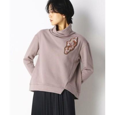 Gabardine K.T/ギャバジンK.T ビーズ刺繍 ワッペン付きトレーナー ピンク F