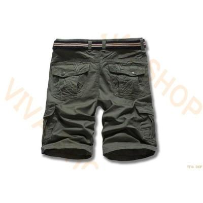 カーゴパンツ ハーフパンツ メンズ ショートパンツ ストレッチ ボトムス 大きいサイズ ミリタリー 5分丈 膝上 ワークパンツ 半ズボン お兄系