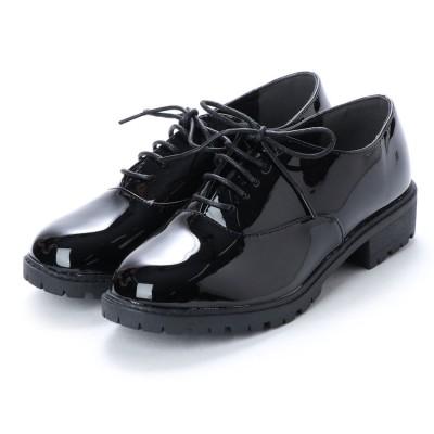 スクランブル scramble 定番レースアップシンプルマニッシュシューズ おじ靴 (ブラック/エナメル)
