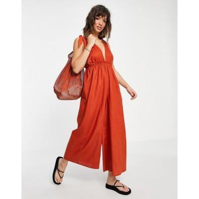 エイソス ASOS DESIGN レディース オールインワン ジャンプスーツ ワンピース・ドレス tie shoulder wide leg linen jumpsuit in rust ラスティック