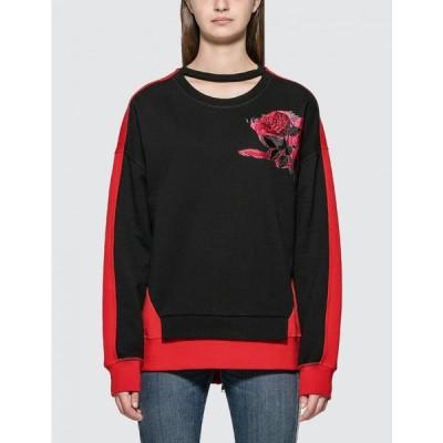 アレキサンダー マックイーン Alexander McQueen レディース スウェット・トレーナー トップス Rose Embroidered Sweatshirt Black/Red