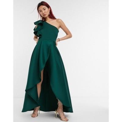 トゥルーバイオレット レディース ワンピース トップス True Violet ruffle one-shoulder high/low prom maxi dress in forest green Green