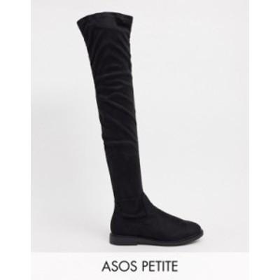 エイソス レディース ブーツ・レインブーツ シューズ ASOS DESIGN Petite Kennedy flat over the knee boots in black Black