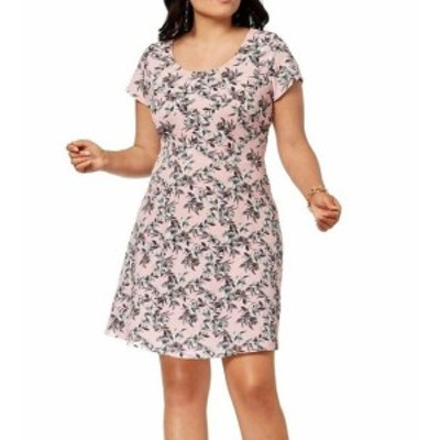 fox フォックス ファッション ドレス Fox + Royal NEW Blush Pink Womens Size 1X Plus Floral Sheath Dress