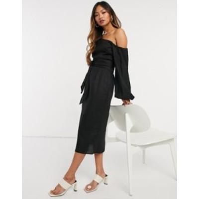エイソス レディース ワンピース トップス ASOS DESIGN belted fallen shoulder midi pencil dress in black Black