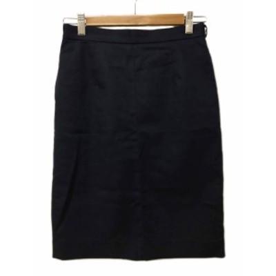 【中古】ノーリーズ Nolley's スカート タイト ひざ丈 無地 スリット 36 紺 黒 ネイビー ブラック レディース