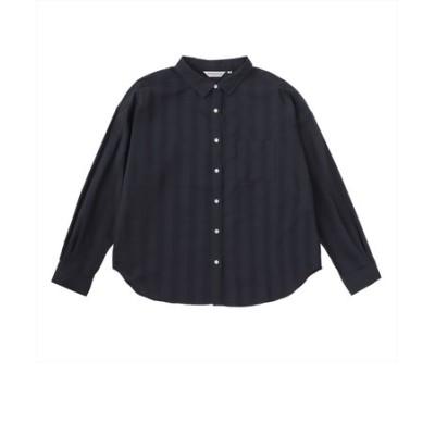 レディース ウィメンズシャツ カジュアル 長袖 レギュラー衿 テンセル混 ネイビー×ストライプ織柄