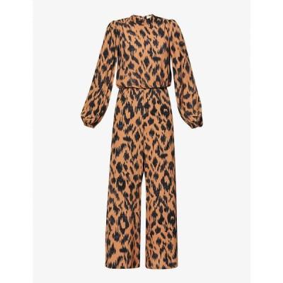 ネバーフリードレス NEVER FULLY DRESSED レディース オールインワン ジャンプスーツ Saorse abstract-print wide-leg woven jumpsuit BROWN