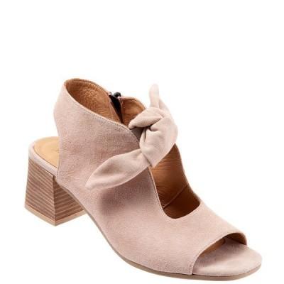 ブエノ レディース サンダル シューズ Ellie Suede Bow Keyhole Block Heel Sandals Pale Pink Suede