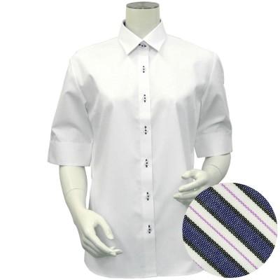 トーキョーシャツ TOKYO SHIRTS 形態安定ノーアイロン レギュラー衿 五分袖ウィメンズシャツ (透け防止) (ホワイト)