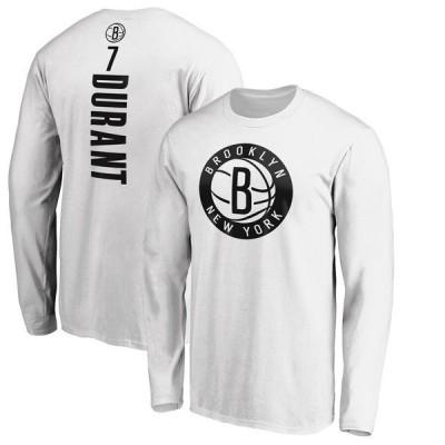ファナティクス ブランデッド メンズ Tシャツ トップス Kevin Durant Brooklyn Nets Fanatics Branded Playmaker Name & Number Long Sleeve T-Shirt