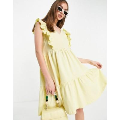マンゴ ミニドレス レディース Mango organic cotton frill summer dress in yellow エイソス ASOS イエロー 黄