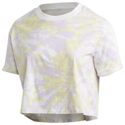 アディダスオリジナルス Tシャツ レディース トップス CLR Plus Size Crop TShirt White/Purple/Yellow | PLUS SIZE