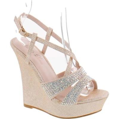 レディース 靴 サンダル BELLA LUNA EMMY-10 Women's Open Toe Slingback Platform Strap Wedge Sandals