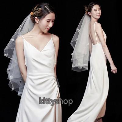ウェディングドレス サテン ホワイトドレス Vネック ノースリーブ キャミ ロングドレス スリット 結婚式ドレス 二次会 花嫁ドレス ブライダルドレス 撮影