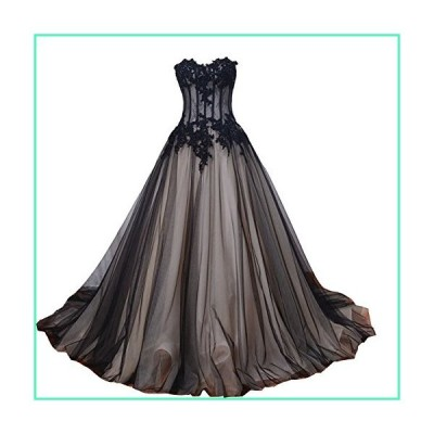 Kivary Sweetheart Long Black and Champagne Lace Tulle Gothic Corset Prom Wedding Dresses US14並行輸入品