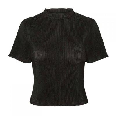 ノイズィーメイ Noisy May レディース Tシャツ トップス AOP Scoop T Shirt Black