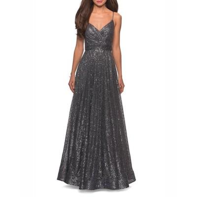 ラフェム レディース ワンピース トップス Sequin V-Neck Sleeveless A-Line Gown with Ruched Bodice