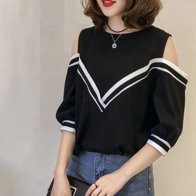 トップスTシャツレディース半袖カットソー大きいサイズ白黒オフショルダー体型カバー