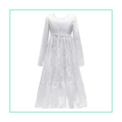Little Big Girls Bridesmaid Wedding Pageant Party Princess Communion Floral Boho Rustic Lace Long Sleeves Flower Girls Dresses White 10-11 Years並行