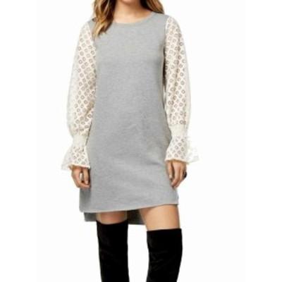 HEATHER  ファッション ドレス Kensie NEW Gray Heather Lace Womens Size Medium M Sweater Dress