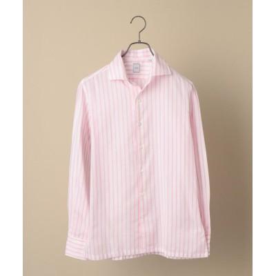 【シップス】 SD: ウォッシュド ICE COTTON(R) ワンピース ストライプ ピンク シャツ メンズ ピンク LARGE SHIPS