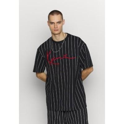 カール カナイ メンズ Tシャツ トップス SIGNATURE PINSTRIPE TEE - Print T-shirt - black/white/red black/white/red
