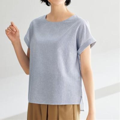 テンセル™繊維コットンリネンブラウス/フレンチ袖 接触冷感 洗濯機OK UVケア/ストライプ/LL