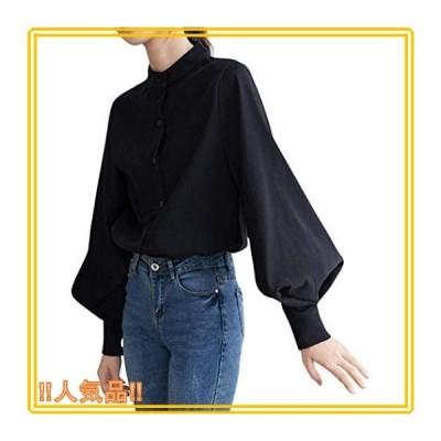 [ブランクブラン]バルーン スリーブ スタンドカラー シャツ ボリューム ブラウス S*XL レディース