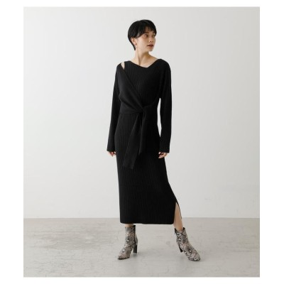 (AZUL by moussy/アズールバイマウジー)FRONT LINK ASYMMETRY KNIT OP/レディース BLK