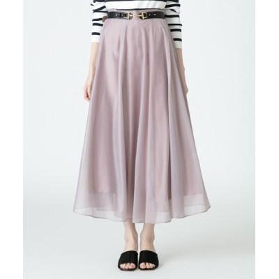 スカート 《洗える》シアーフレアスカート
